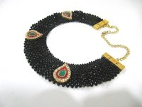 Hand Woven Knitted Beaded Stone Necklace