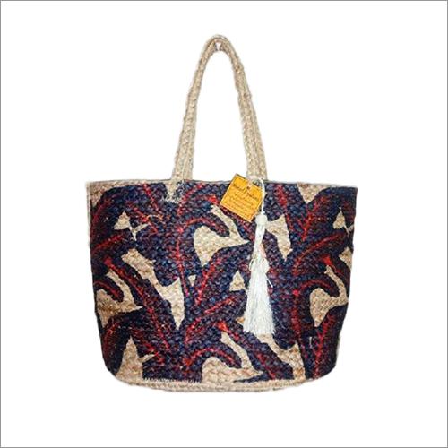 Printed Jute Handbag With Tassel