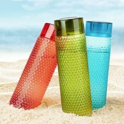 Set Of 6 Dotted Pattern Fridge Water Bottle 1 Ltr