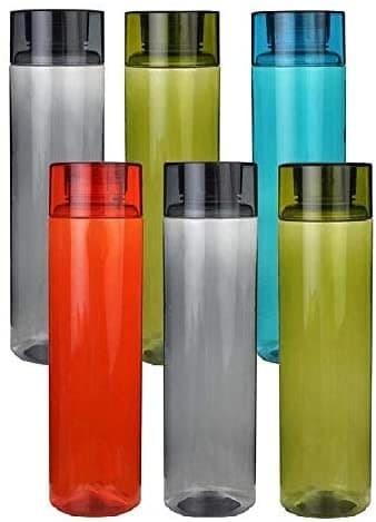 Set Of 6 Plastic Fridge Water Bottle 1 Ltr