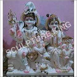 White Marble Lord Shiv Parivar Statue