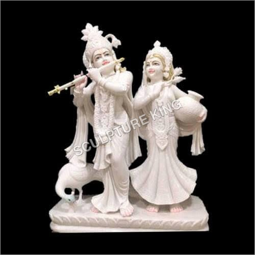 White Marble Jugal Jodi Statue