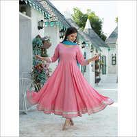 Ladies Rayon Rose Pink Kurta Dupatta Set