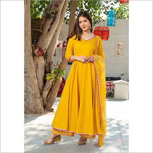 Ladies Rayon Sunsine Yellow Kurta Dupatta Set
