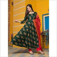 Ladies Leaf Green Gold Kurta Dupatta Set
