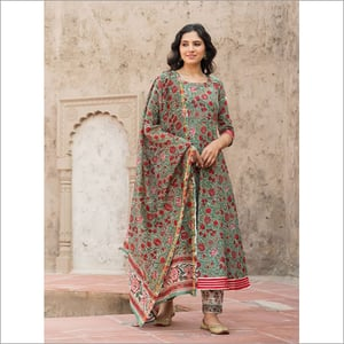Ladies Forest Green Hand Block Print Kurta Set With Chanderi Dupatta Set