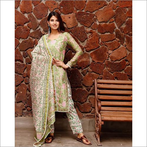 Ladies Shiny Green Block Print Chanderi Kurta Dupatta Set