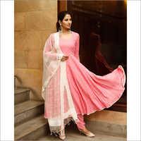 Ladies Pink Polka Print Kurta Dupatta Set