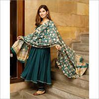 Ladies Teal Green Solid Flared Kurta Set With Hand Block Print Chanderi Dupatta
