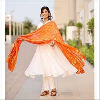 Ladies Bright White Flared Kurta Set With Bandhej Dupatta