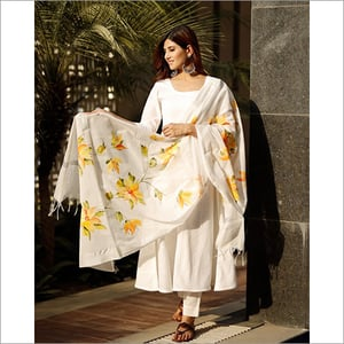 Ladies White Flared Cotton Kurta Set With Hand Paint Chanderi Dupatta