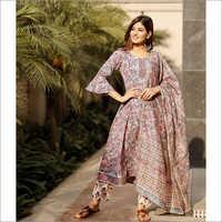 Ladies Hand Block Print Kurta With Chanderi Dupatta