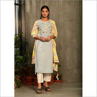 Ladies Light Grey Designer Readymade Salwar Kameez Dupatta Set