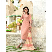 Ladies Light Pink Designer Readymade Salwar Kameez Dupatta Set