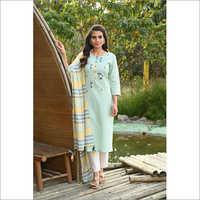 Ladies Sky Blue Designer Readymade Salwar Kameez Dupatta Set