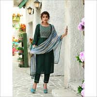 Ladies Dark Green Designer Readymade Salwar Kameez Dupatta Set