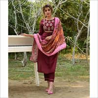 Ladies Maroon Designer Readymade Salwar Kameez Dupatta Set