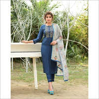 Ladies Blue Designer Readymade Salwar Kameez Dupatta Set