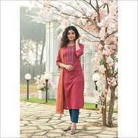 Ladies Micro Embroidery Readymade Salwar Kameez Dupatta Set