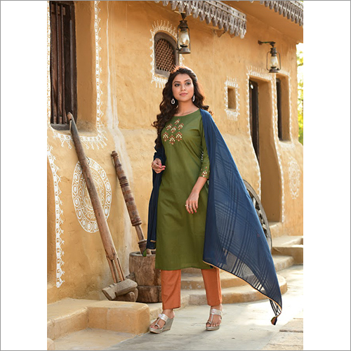 Ladies Green Designer Readymade Salwar Kameez Dupatta Set