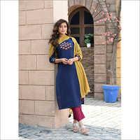 Ladies Blue Micro Embroidery Readymade Salwar Kameez Dupatta Set