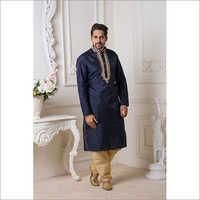Mens Dark Blue Mysore Silk Kurta Pyjama