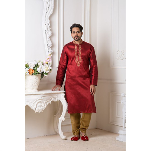 Mens Mulbury Plain Silk Kurta Pyjama