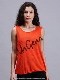 Women Solid Orange Sleeveless Tank Tops