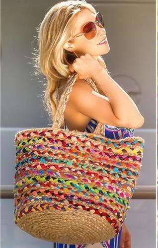 Women Hand Woven Structured Jute Beach Bag