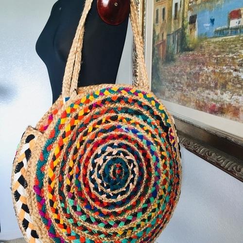Jute Woven Oversized Circle Tote Beach Bag