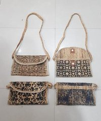 Hand Woven Printed Jute Clutch Bag