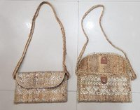 Jute Clutch Bag With Printing