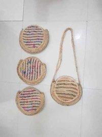 Multi Color Jute Beach Bag With Long Strap