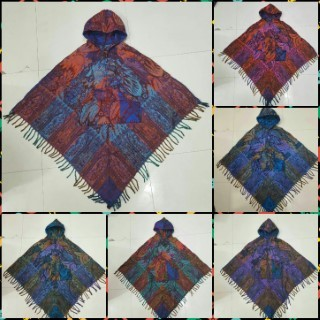Sweater Woolen Colorful Poncho