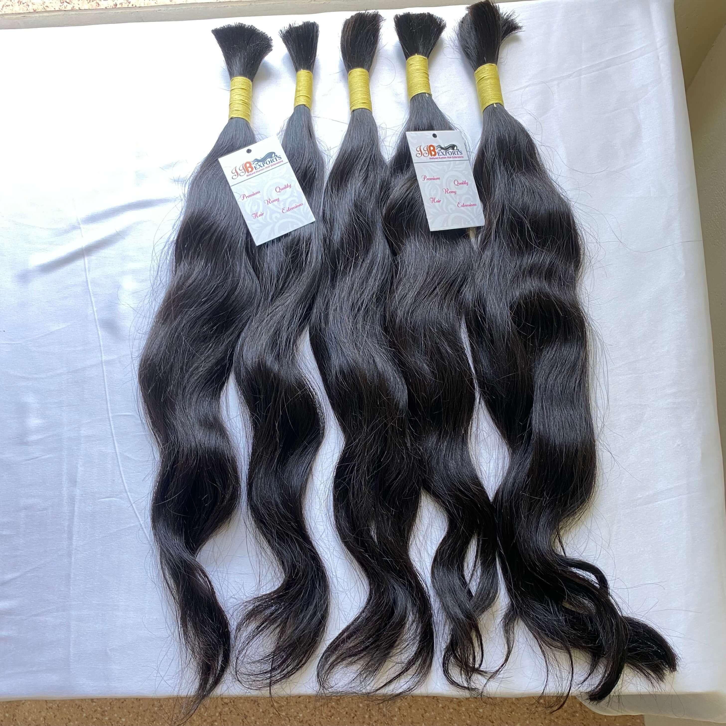 Cuticle Aligned Virgin Raw Unprocessed Human Bulk Hair Bundles