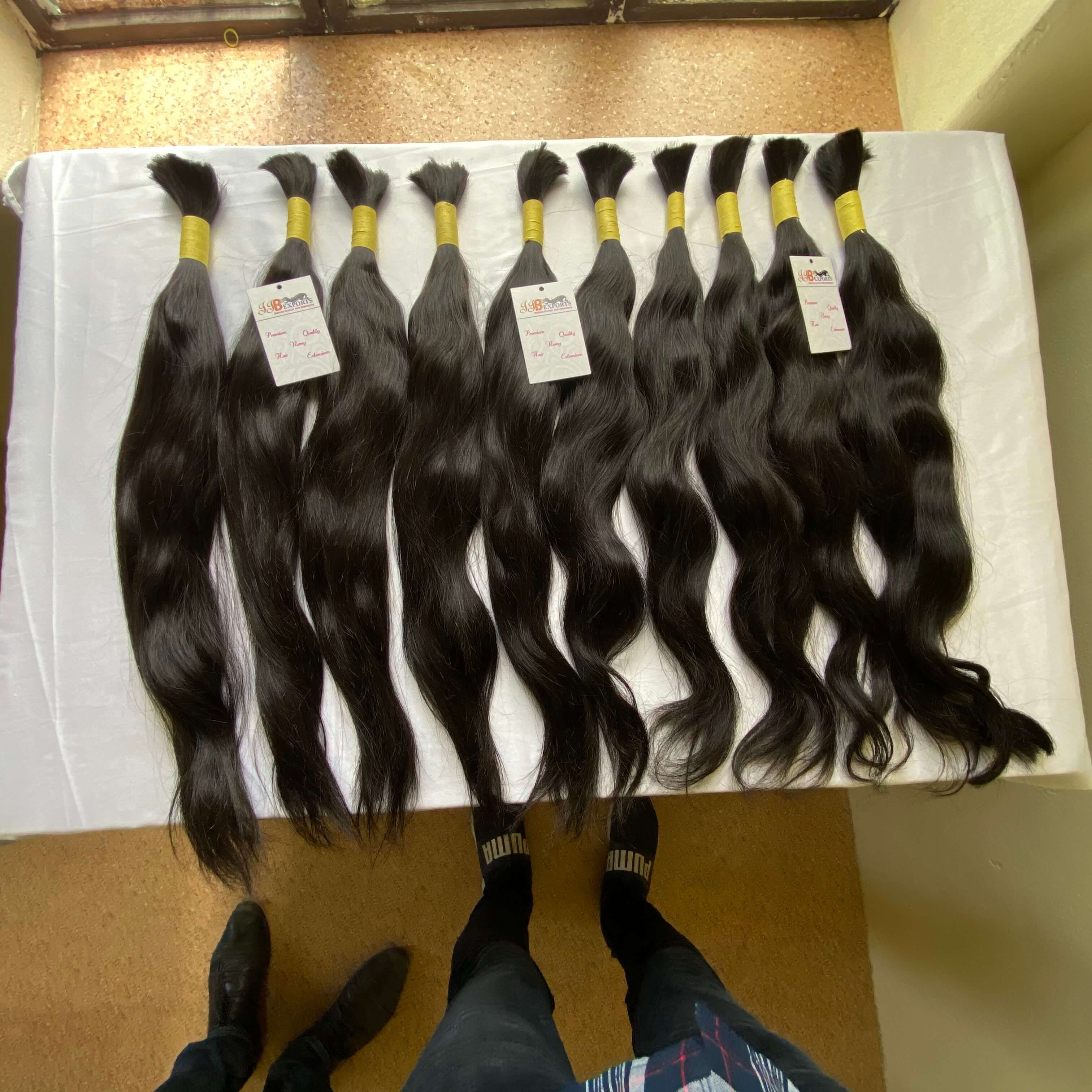 High Quality 100% Natural Color Silky Straight Human Bulk Hair Extensions In Wholesale Price