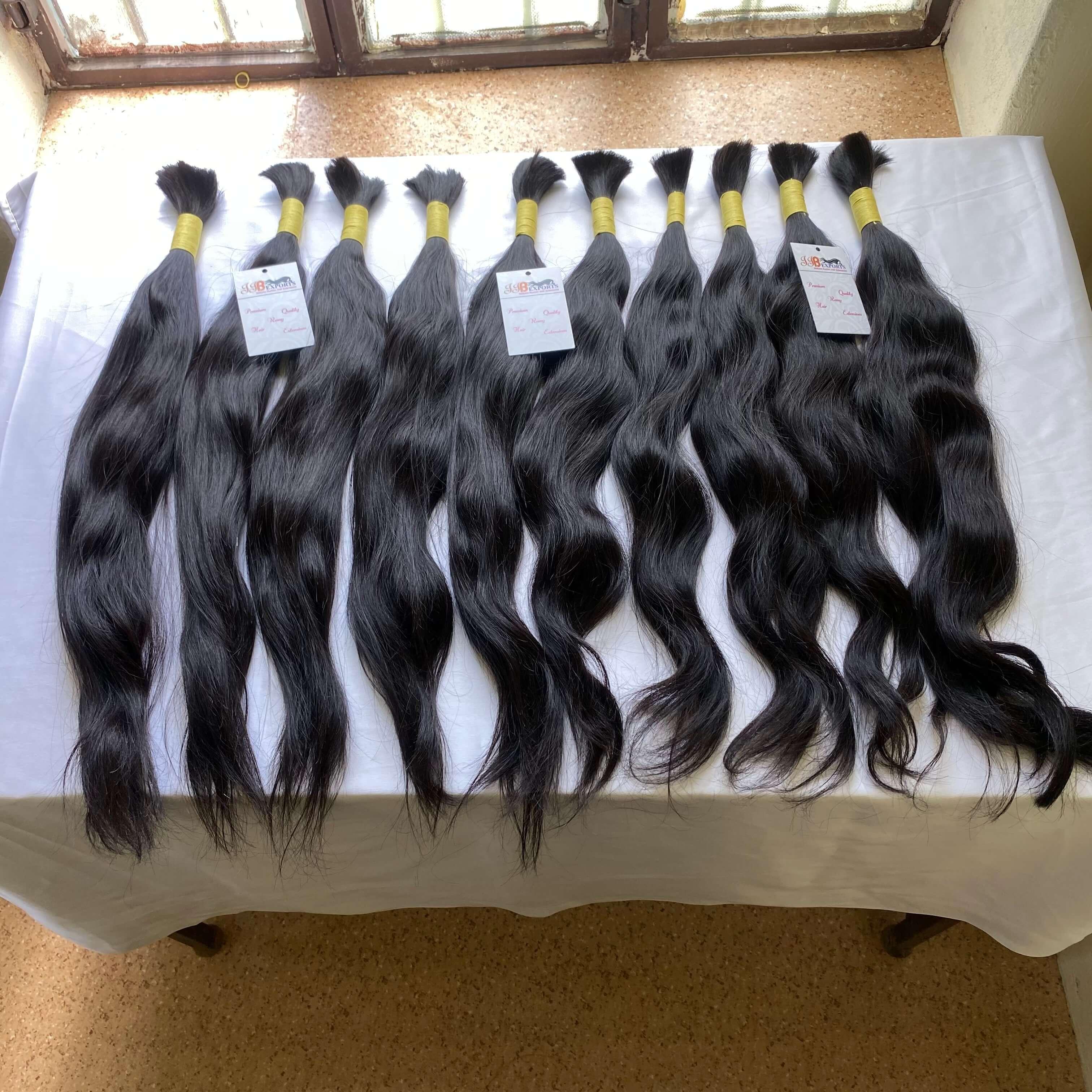 Natural Black Raw Unprocessed Brazilian/indian Virgin Human Bulk Hair