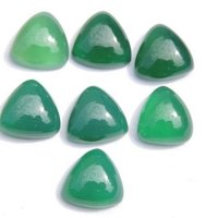 7mm Green Chalcedony Trillion Cabochon Loose Gemstones