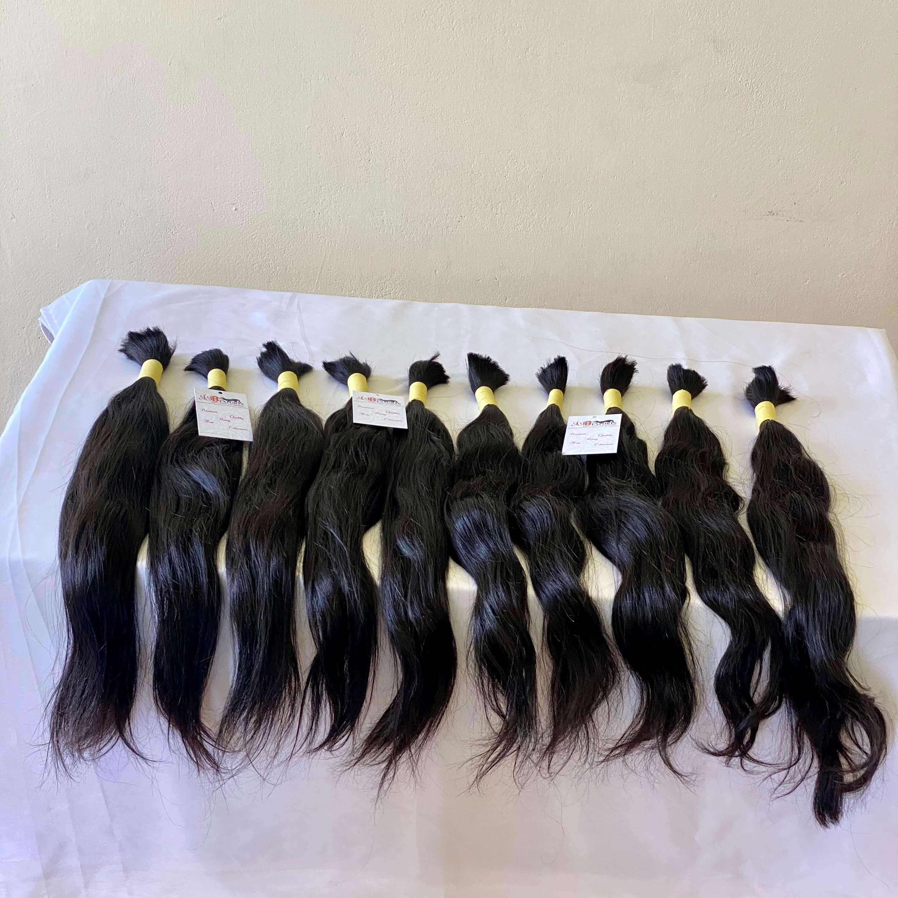 Natural Color Black Women Soft & Silky High Quality 100% Virgin Indian/brazilian Bulk Human Hair