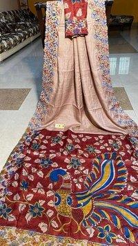 Pure tussar silk cut work saree with pen kalamkari hand painted on pallu .