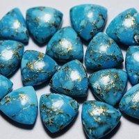 9mm Blue Copper Turquoise Trillion Cabochon Loose Gemstones