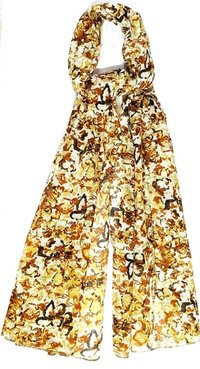 Embroidered Flower Printed Cotton Scarves