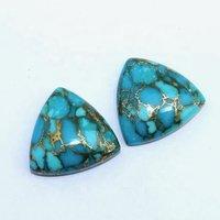 13mm Blue Copper Turquoise Trillion Cabochon Loose Gemstones