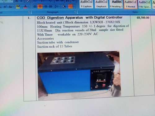 COD digesion apparatus