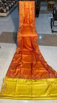 Pure tussar silk cut work saree with contrast blouse .