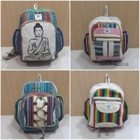Natural Woven Cotton Backpack