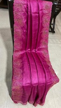Pure tussar silk cut work saree with running blouse .