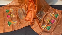 PATTACHITRA HAND PAINTED NATURAL COLOUR USED PURE TUSSAR SILK LONG DUPATTA .