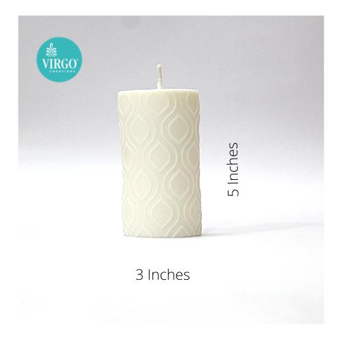 Embossed Pillar, Leaf,White, Vanilla