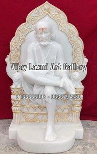 Marble Sai Baba Statue With Singhasan
